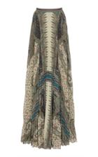 Etro Pleated Printed Crepe Skirt