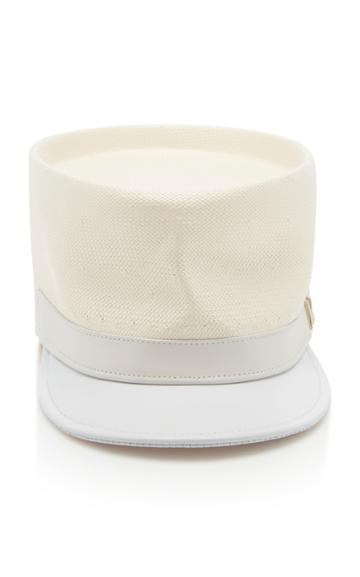 Nina Ricci Straw Leather Cap