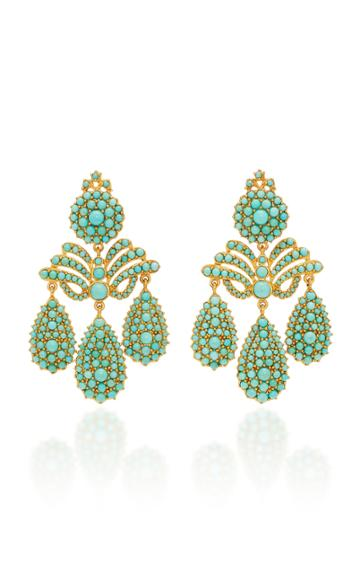 Sylvie Corbelin Marquise Palace 18k Gold Turquoise Earrings