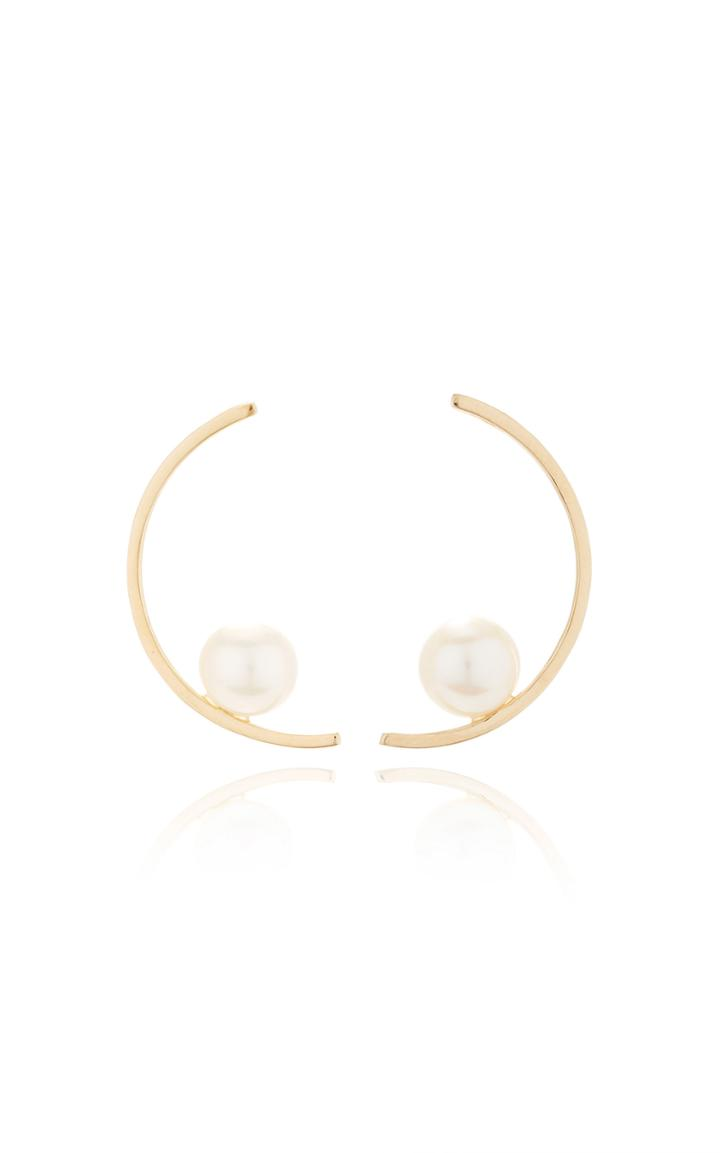 Mateo 14k Gold And Pearl Half Moon Earrings