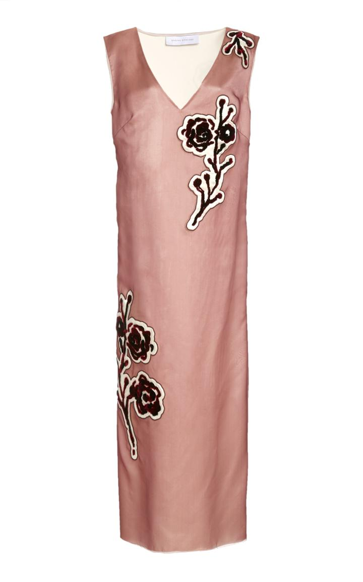 Moda Operandi Marina Moscone Embroidered Silk-blend Midi Dress