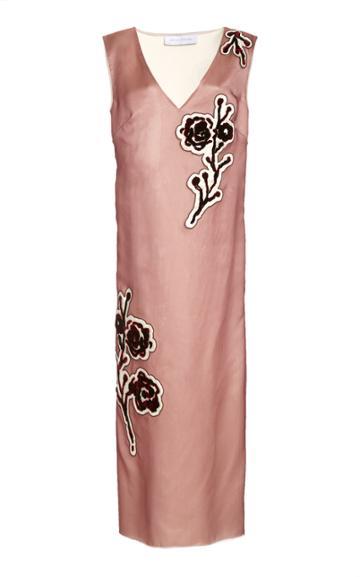 Moda Operandi Marina Moscone Embroidered Silk-blend Midi Dress