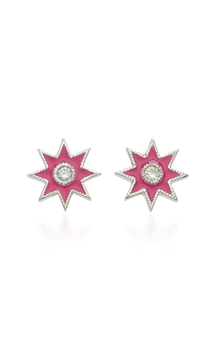 Colette Jewelry Star 18k White Gold Enamel And Diamond Earrings