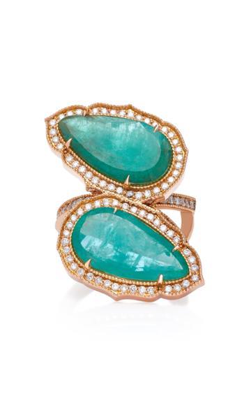 Sara Weinstock 18k Gold Emerald And Diamond Ring