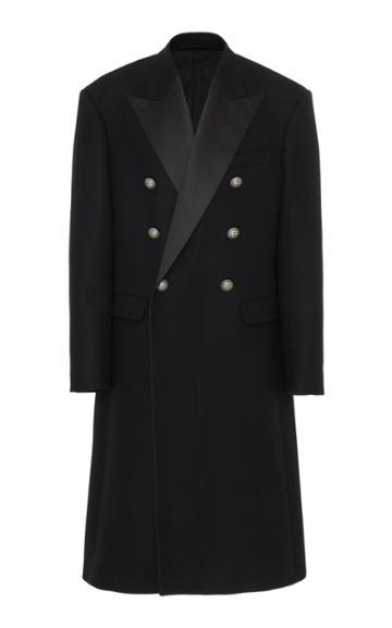 Balmain Wool Large Shoulders Coat