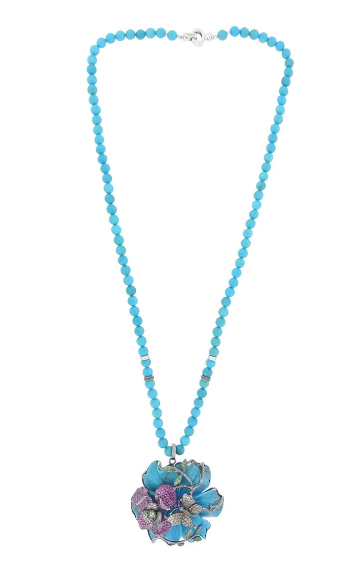 Wendy Yue 18k White Gold, Turquoise, And Champagne Diamond Necklace