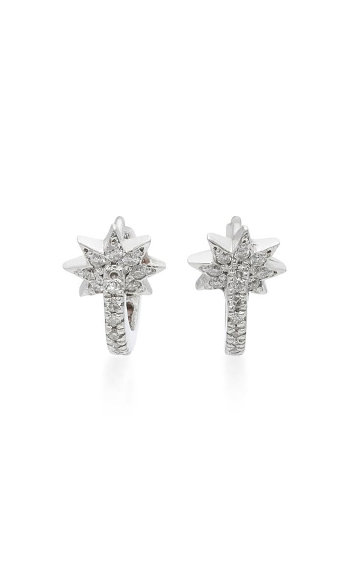 Colette Jewelry Mini Star Huggie 18k White Gold Diamond Earrings