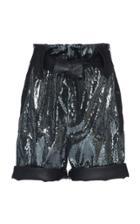 Dundas Sequin Embellished Leather Shorts With Belt