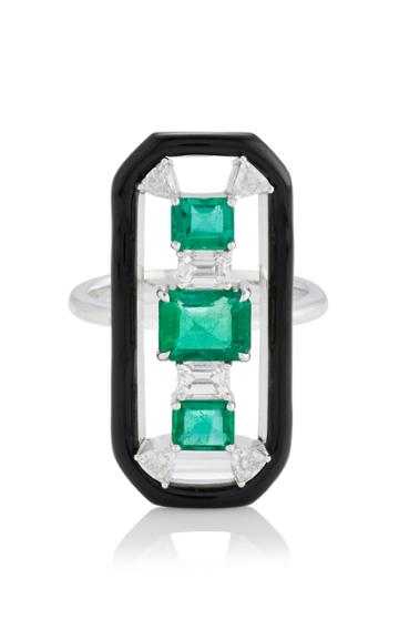 Nikos Koulis Oui Long Ring With Emeralds Trillion And Emerald Cut White Diamonds And Black Enamel