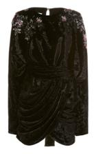Moda Operandi Redemption Embroidered Draped Mini Dress Bat Sleeves