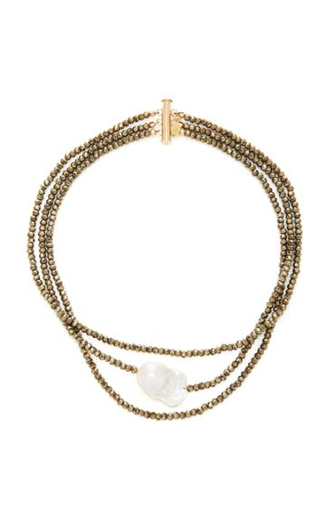 Joie Digiovanni Triple Strand Gold-filled Pyrite And Pearl Choker