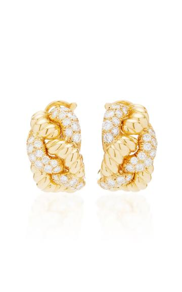 Vintage Boucheron Diamond And Gold Rope Earrings