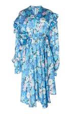 Balenciaga Asymmetric Floral Silk Satin Midi Dress