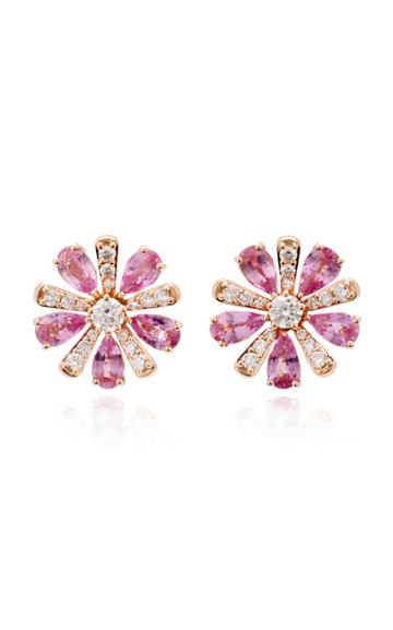 Hueb M'o Exclusive 18k Rose Gold Sapphire And Diamond Earrings