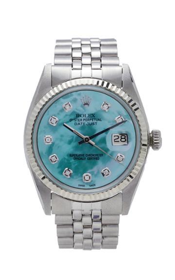 Vintage Watches Rolex Datejust Aqua Green Pearlized Diamond Dial