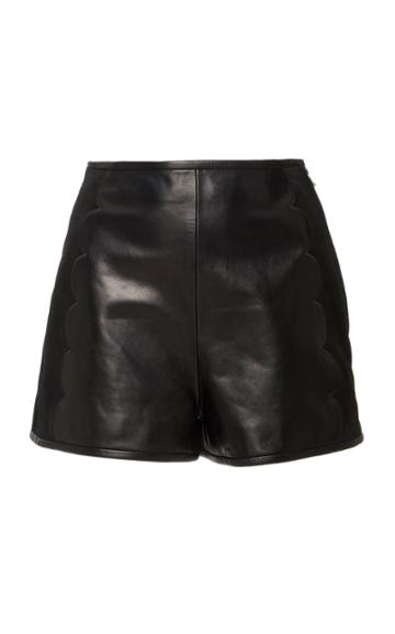 Red Valentino Scallop Leather Shorts