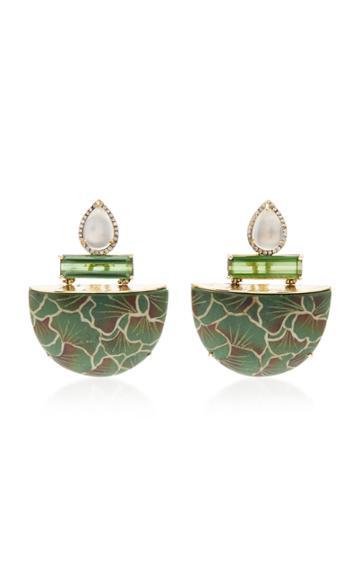 Silvia Furmanovich 18k Gold, Marquetry, Diamond And Tourmaline Earring