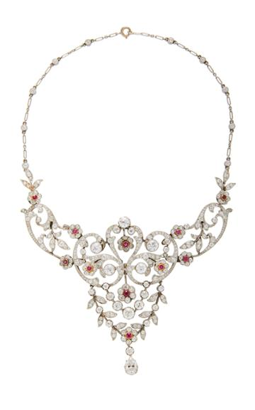 Simon Teakle Belle Poque Ruby And Diamond Necklace