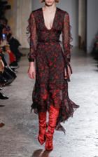 Francesco Scognamiglio Printed Ruffled Midi Dress