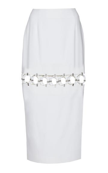 Sara Battaglia Cross Hatch Cutout Pencil Skirt