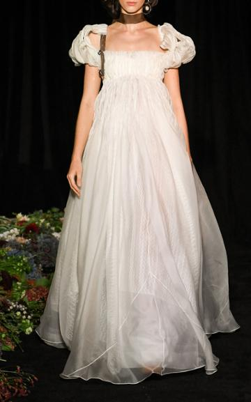 Moda Operandi Danielle Frankel Rosalie Tucked Organza Empire Waist Gown Size: 0