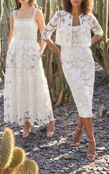 Moda Operandi Monique Lhuillier Tiered Guipure Lace Maxi Dress