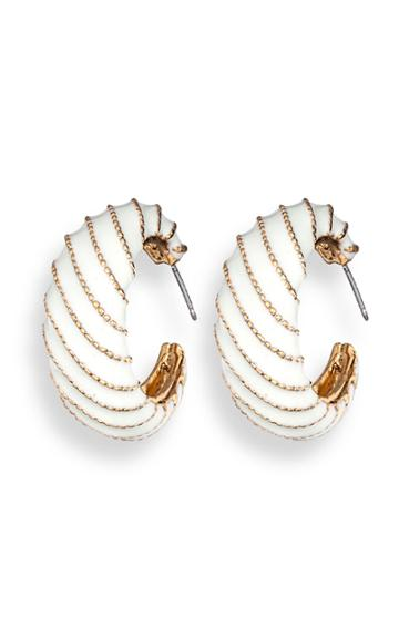 Jennifer Behr Brass And Enamel Scroll Hoop Earrings