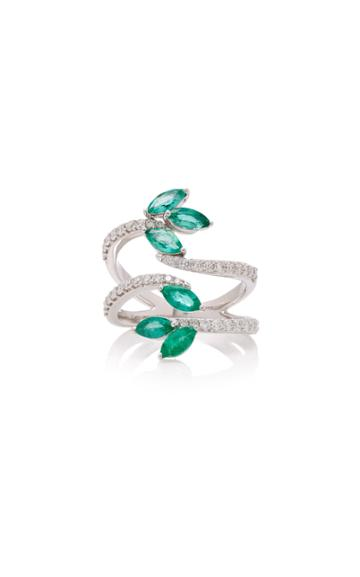 Hueb M'o Exclusive 18k White Gold Emerald And Diamond Ring