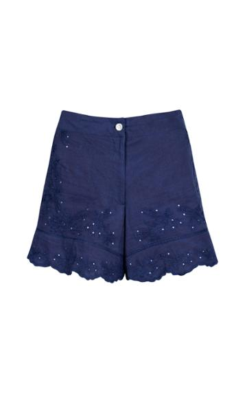 Moda Operandi Juliet Dunn Embroidered Washed Cotton High-rise Shorts