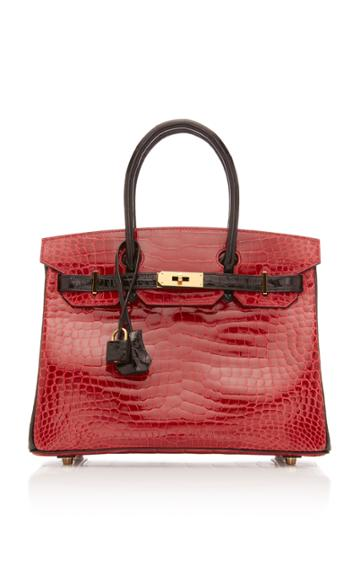 Herms Vintage By Heritage Auctions Hermes 30cm Shiny Briase And Black Porosus Crocodile Special Order Horseshoe Birkin