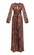 Moda Operandi Lena Hoschek Sherazade Pleated Floral Satin Maxi Dress