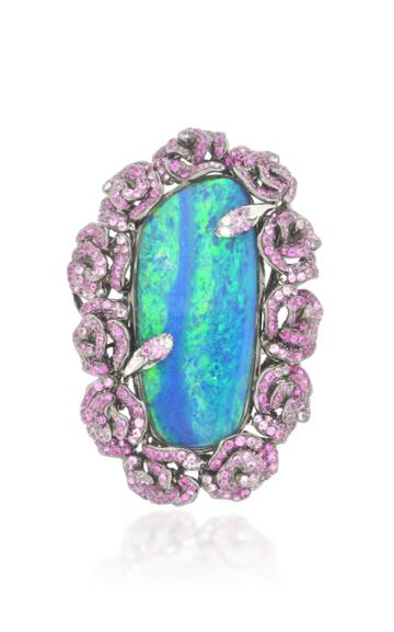 Wendy Yue 18k White Gold, Opal, And Pink Sapphire Ring