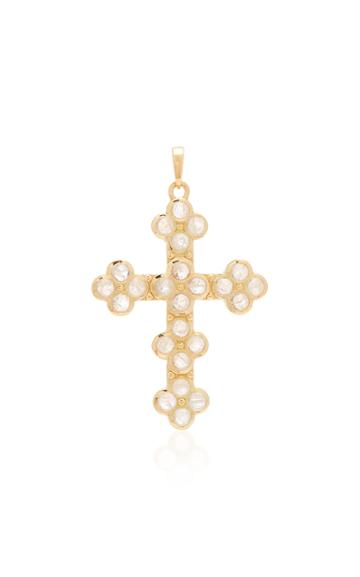 Ashley Mccormick Cross 18k Gold And Moonstone Necklace