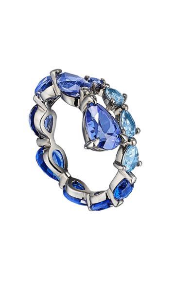 Moda Operandi Anabela Chan 18k Blackened Gold & Rhodium Aqua Coil Ring