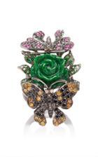 Wendy Yue 18k Gold Jade Diamond Sapphire And Tsavorite Ring