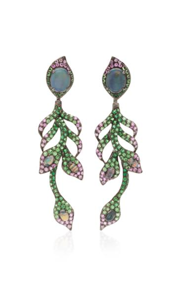 Wendy Yue 18k White Gold Opal Tsavorite And Pink Sapphire Earrings