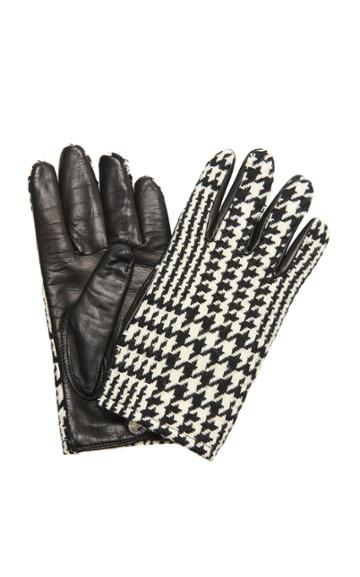 Moda Operandi Alexander Mcqueen Houndstooth Cashmere And Leather Gloves Size: 7.5