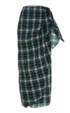 Tome Pleated Cotton Plaid Sarong Skirt