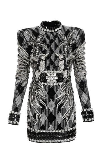 Moda Operandi Balmain Bead-embellished Gingham Knit Mini Dress