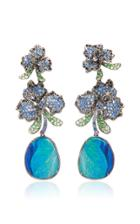 Wendy Yue 18k Gold Opal Diamond Tsavorite And Sapphire Earrings