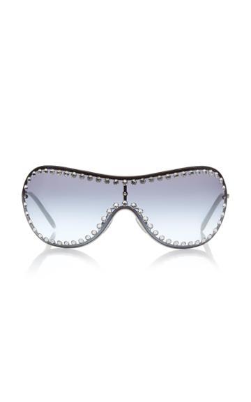 Miu Miu Shield Crystal-embellished Metal Sunglasses