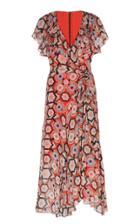 Moda Operandi Temperley London Printed Silk Ruffled Midi Dress Size: 6