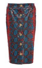 Versace Python-printed Leather Skirt