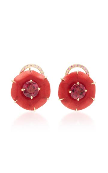 Silvia Furmanovich 18k Gold, Marquetry, Ruby And Rubellite Earrings