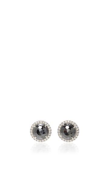 Nina Runsdorf Round Rose Cut Black Diamond Stud Earrings