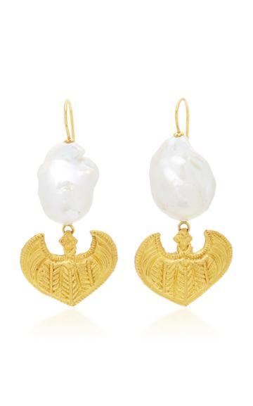 Ranjana Khan Gold Leaf 1 Pearl Earrings