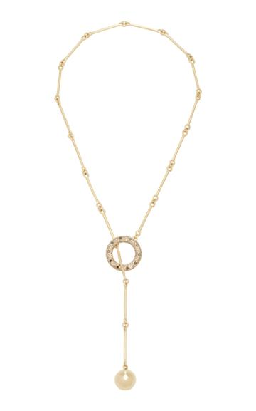 Rush Jewelry Design 18k Yellow Gold Signature Diamond Lariat Necklace