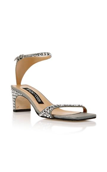 Sergio Rossi Jeweled Silver Suede Sandals