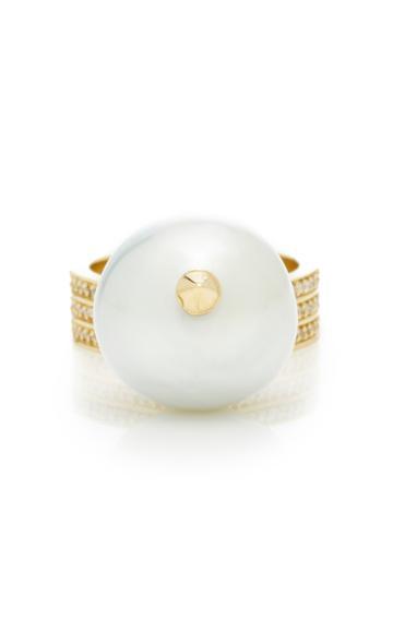 Mizuki One-of-a-kind 14k Teardrop Ring With Pearl Drop