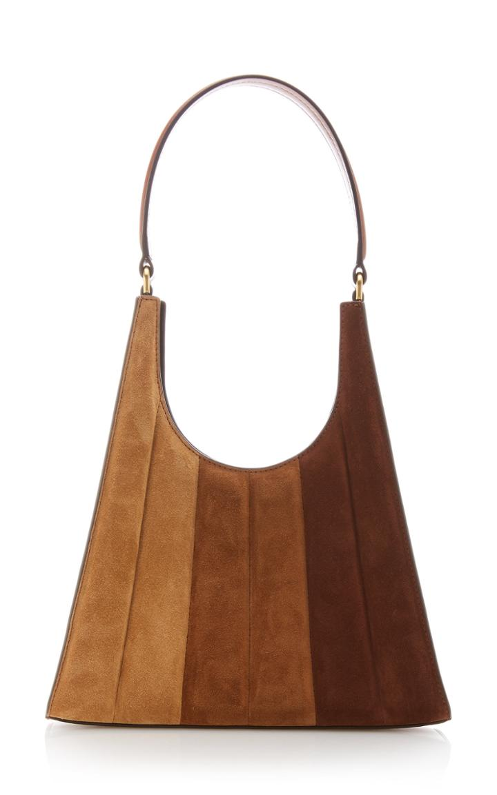 Moda Operandi Staud Rey Striped Suede Shoulder Bag